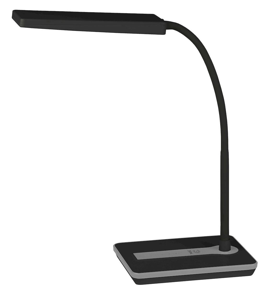 Настольный светильник ЭРА NLED-446-9W-BK, цвет: черныйNLED-446-9W-BKСветильник со светодиодами (LED) в качестве источников света, которые экономят до 90% электроэнергии и не требуют замены на протяжении всего срока службы светильника. Сенсорный переключатель на основании. Четырехступенчатый диммер для регулировки яркости. Высота плафона регулируется гибкой стойкой, направление света регулируется поворотом плафона в любом направлении. Теплый свет, аналогичный свету лампы накаливания - цветовая температура 3000К.