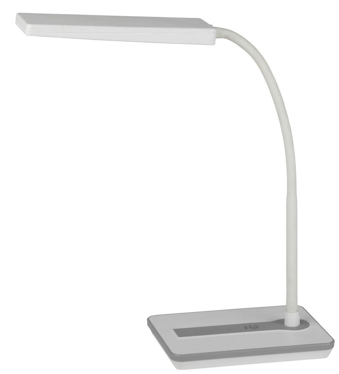 Настольный светильник ЭРА NLED-446-9W-W, цвет: белыйNLED-446-9W-WСветильник со светодиодами (LED) в качестве источников света, которые экономят до 90% электроэнергии и не требуют замены на протяжении всего срока службы светильника. Сенсорный переключатель на основании. Четырехступенчатый диммер для регулировки яркости. Высота плафона регулируется гибкой стойкой, направление света регулируется поворотом плафона в любом направлении. Теплый свет, аналогичный свету лампы накаливания - цветовая температура 3000К.
