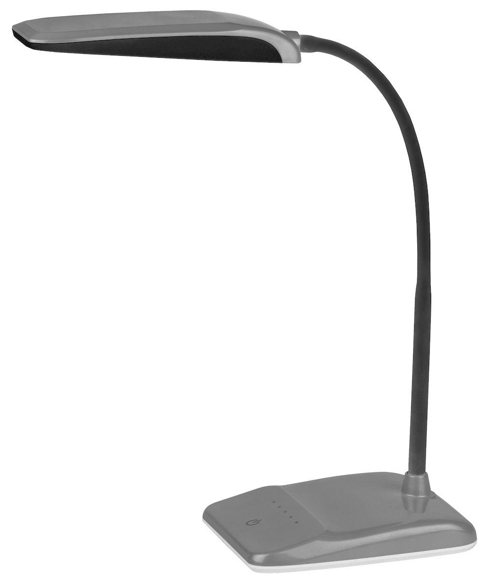 Настольный светильник ЭРА NLED-447-9W-S, цвет: сереброNLED-447-9W-SСветильник со светодиодами (LED) в качестве источников света, которые экономят до 90% электроэнергии и не требуют замены на протяжении всего срока службы светильника. Сенсорный переключатель на основании. Четырехступенчатый диммер для регулировки яркости. Высота плафона регулируется гибкой стойкой, направление света регулируется поворотом плафона в любом направлении. Теплый свет, аналогичный свету лампы накаливания - цветовая температура 3000К.
