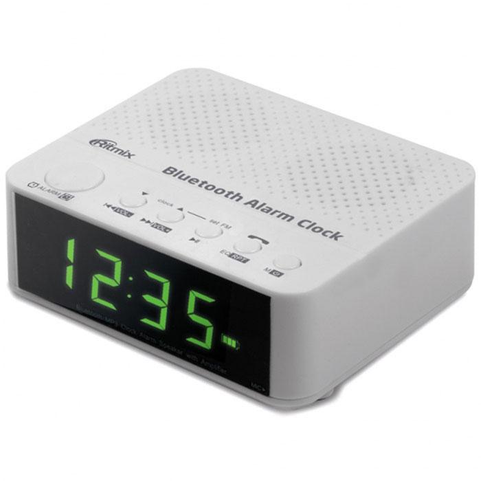 Ritmix RRC-818, White радио-часыRRC-818 WHITERitmix RRC-818 – это FM - радиочасы с функцией Bluetooth, позволяющей беспроводным способом подключаться к другим устройствам. Такая возможность позволяет RRC-818 воспроизводить аудиофайлы, записанные в памяти этих устройств. Кроме того, воспроизведение можно вести и с карт памяти, разъём для которых имеется в радиочасах. Ritmix RRC-818 оснащены микрофоном, и благодаря Bluetooth-соединению со смартфоном их можно использовать для телефонных разговоров в режиме Handsfree. Устройство имеет будильник, а также эквалайзер для управления звуком.