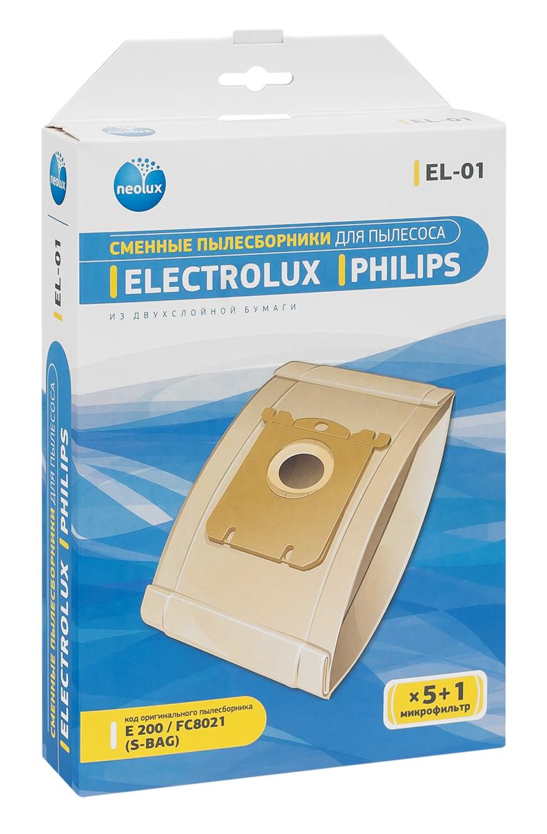 Neolux EL-01 бумажный пылесборник (5 шт) + микрофильтрEL-01Пылесборники Neolux EL-01 ( ориг. код Gr. 200, S-Bag, E15) предназначены для пылесосов ELECTROLUX серий: AIRMAX, CLARIO, CYCLONEXL, ERGOBOX, ERGOEASY, ERGOSPACE, EXCELLIO, MAXIMUS, OXY, OXYGEN, SMARTVAC, ULTRA ACTIVE, ULTRA ONE, ULTRA SILENCER, VIVA QUIPSTOP, VIVA CONTROL; для пылесосов PHILIPS серий: AIRSTAR, CITY-LINE, EASYLIFE, EXPRESSION, HOMEHERO, IMPACT, JEWEL, MOBILO, PERFORMER, PERFORMERACTIVE, PERFORMEREXPERT ECO, PERFORMERPRO, POWERLIFE, SILENTSTAR, SMALLSTAR, SPECIALIST, STUDIO(POWER), UNIVERSE. Изготовлены из двухслойной фильтровальной бумаги. Обеспечивают идеальное качество уборки. В комплект входит универсальный фильтр защиты двигателя размером 125х195 мм.