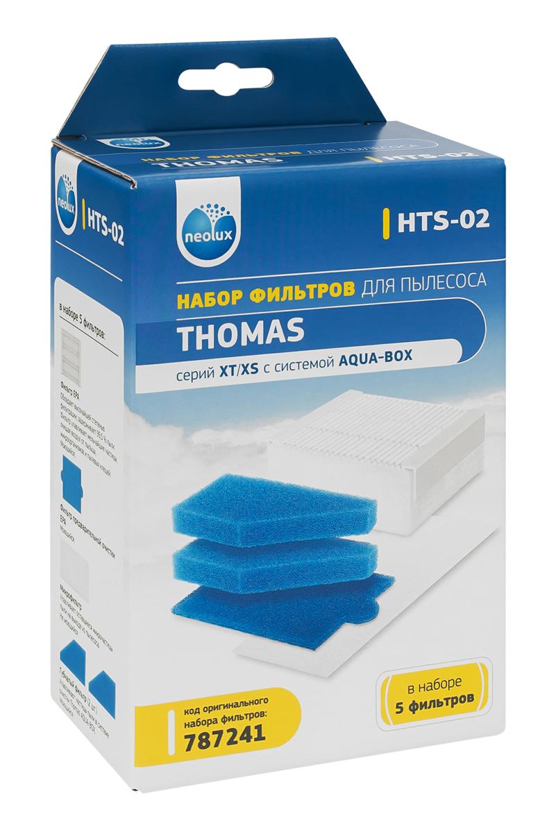Neolux HTS-02 набор HEPA-фильтров для пылесоса ThomasHTS-02Набор фильтров Neolux HTS-02 предназначен для пылесосов THOMAS серий XT/XS с системой AQUA-BOX. В наборе 5 фильтров: EPA фильтр Пористый фильтр предварительной очистки Пористый фильтр аквасистемы (2 шт.) Микрофильтр выпускного воздуха для моделей XT