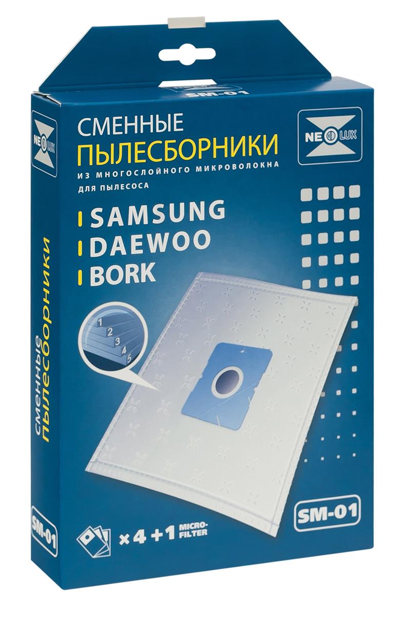 Neolux SM-01 пылесборник из пятислойного микроволокна (4 шт) + микрофильтрSM-01Пылесборники Neolux SM-01 предназначены для пылесосов Samsung, Daewoo, Bork, Clatronic, Scarlett. Изготовлены из пятислойного микроволокна и содержат 2 слоя Meltblown, которые и являются основными фильтрующими элементами. Задерживают 99,9 % пыли, идеальны для людей, страдающих аллергией. Не боятся случайного попадания влаги и острых предметов. Служат в 1,5 раза дольше бумажных пылесборников. Продлевают срок службы двигателя пылесоса. Сокращают время уборки за счет сохранения мощности двигателя пылесоса. В комплект входит универсальный фильтр защиты двигателя размером 125х195 мм. Совместимые модели: Samsung SC 31, SC 51, SC 52, SC 53, SC 54, VC 61, VC/SC 69, SC 70, SC 72, SC 75 Daewoo Compakt, Koala, RC 103 - RC 110, RC 160, RC 161, RC 170 - RC 173, RC 190 - RC 193, RC 200, RC 202, RC 205, RC 209, RC 210, RC 405 - RC 407, RC 450, RC 505, RC 550, RC 605 - RC 609, RC 705, RC 707, RC 805, RC 1504, RC 2006, RC 2200 - RC 2202, RC 2205, RC 2230, RC 2400, RC ...