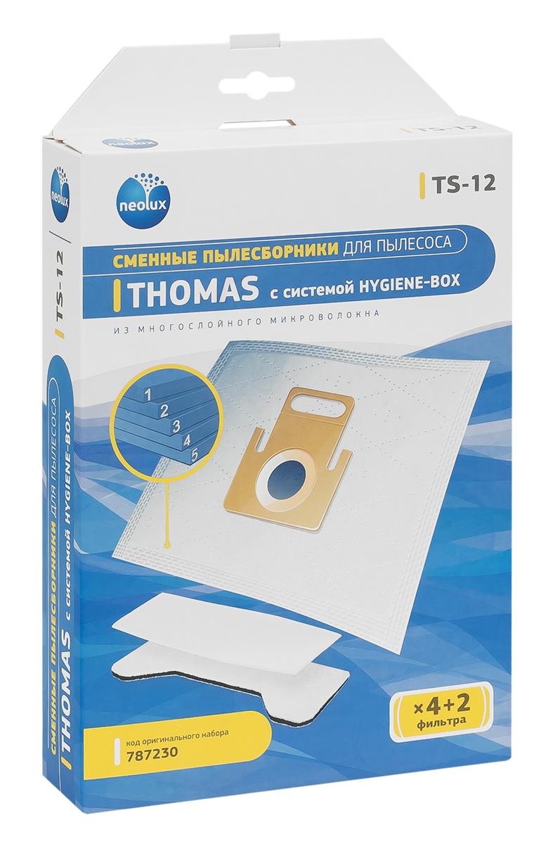 Neolux TS-12 пылесборник из пятислойного микроволокна (4 шт) + 2 фильтраTS-12Пылесборники Neolux TS-12 предназначены для пылесосов Thomas Black Ocean, Hygiene, Hygiene Plus, Smarty. Изготовлены из пятислойного микроволокна и содержат 2 слоя Meltblown, которые и являются основными фильтрующими элементами. Задерживают 99,9 % пыли, идеальны для людей, страдающих аллергией. Не боятся случайного попадания влаги и острых предметов. Служат в 1,5 раза дольше бумажных пылесборников. Продлевают срок службы двигателя пылесоса. Сокращают время уборки за счет сохранения мощности двигателя пылесоса. В комплект входит универсальный фильтр защиты двигателя размером 125х195 мм.