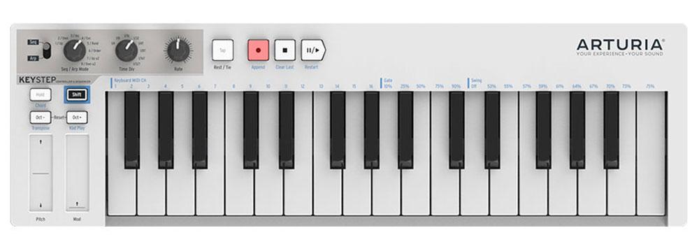 Arturia KeyStep MIDI-клавиатураKeyStepArturia KeyStep стильная и недорогая MIDI-клавиатура. Данная модель оснащена встроенным полифоническим шаговым секвенсором, имеет три различных режима работы и продвинутые возможности подключения. MIDI- клавиатура оснащена качественной клавиатурой с 32 мини-клавишами, обеспечивающей естественные ощущения при игре. Особенности: Встроенный 64-шаговый 8-нотный полифонический секвенсор Арпеджиатор с 8-ю режимами и режим воспроизведения аккордов Множество вариантов подключения Возможность управления любым цифровым или аналоговым синтезатором Сенсорные ленточные контроллеры Pitch Bend и Modulation Питание по шине USB или от опционального внешнего адаптера (продается отдельно) Питание от iPad (необходим опциональный адаптер Camera Connection Kit)