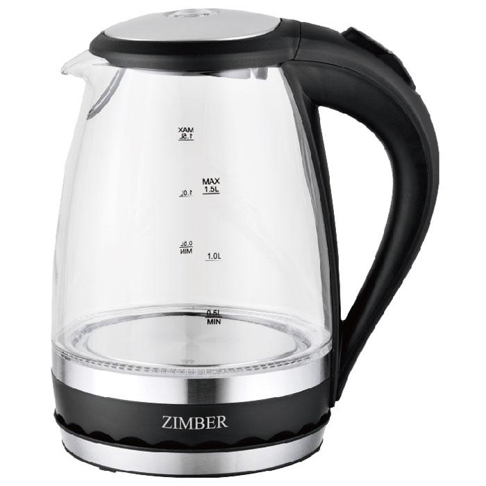 Zimber ZM-11070, Black электрический чайникZM-11070Zimber ZM-11070 - это мощная (2200 Вт) модель большого объема (1,5 л). С помощью этого чайника вы сможете приготовить чай на большую компанию за считанные минуты. Прозрачные стенки корпуса позволит наблюдать за процессом кипячения. Вращающийся корпус сделает использование чайника еще более удобным, а фильтр избавит от попадания накипи в чашку.
