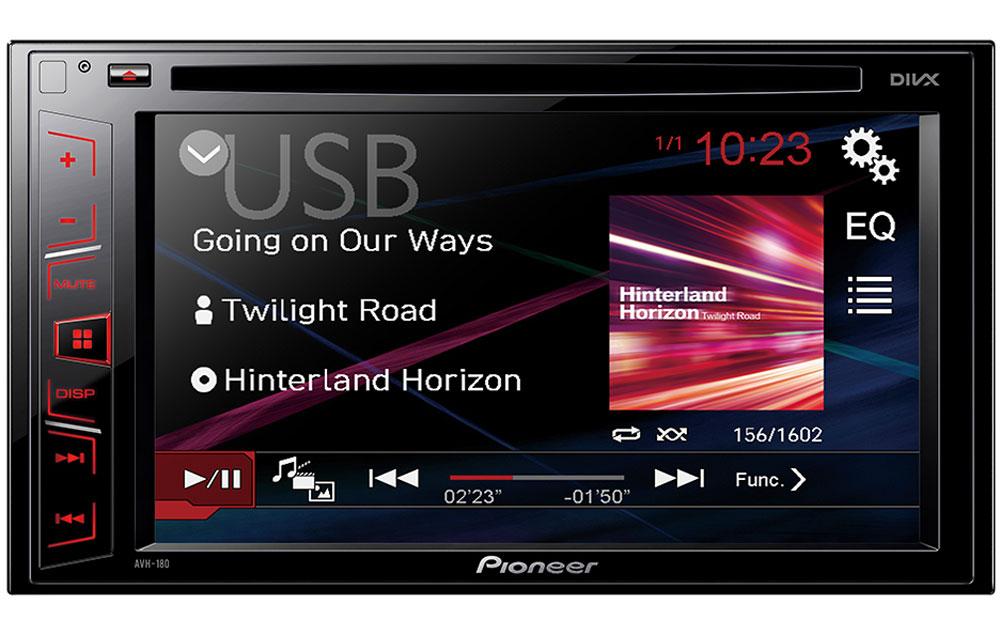 Pioneer AVH-180 мультимедийная система1024277Pioneer AVH-180 - автомобильная DVD/CD/USB магнитола с информативным ЖК-дисплеем, подсветкой функциональных клавиш, а также разъемом USB и входом 3.5 мм для подключения совместимых аудио/видео устройств. Наслаждайтесь воспроизведением любимого аудио и видео контента на большом 6.2 сенсорном экране Clear type. Модель воспроизводит аудио/видео практически с любого источника, будь то CD, DVD, USB носители или последние поколения iPhone и Android-смартфонов. USB-вход используется для подключения внешних устройств (USB-накопителей или смартфонов) для воспроизведения музыки или зарядки. К магнитоле можно подключить камеру заднего вида, воспользовавшись специальным видеовходом. Она облегчает маневрирование в ограниченном пространстве.