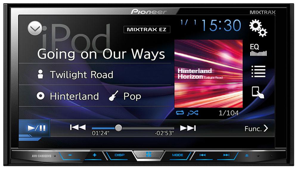 Pioneer AVH-X4800DVD мультимедийная система1024282Pioneer AVH-X4800DVD - мультимедийная система с сенсорным экраном Clear Type и встроенным звуковым процессором (24 бит). Данная модель воспроизводит аудио/видео контент практически с любого источника, будь то CD, DVD, USB носитель или последние поколения iPhone и Android-смартфонов. Наслаждайтесь музыкой и фильмами на большом сенсорном экране 7. Посредством USB-кабеля вы можете подключить к ресиверу совместимые iPhone или Android телефоны и с легкостью управлять совместимыми приложениями прямо с головного устройства автомобиля. В модели предусмотрены многочисленные технологии улучшения звука , такие как 13-полосный графический эквалайзер, автоматический эквалайзер и автоматическая синхронизация звука (Time Alignment), которые дают возможность настроить звук так, как вам нравится. А фирменная технология MIXTRAX EZ позволяет воспроизводить музыкальные треки в режиме нон-стоп с различными диджейскими эффектами. Система оснащена...