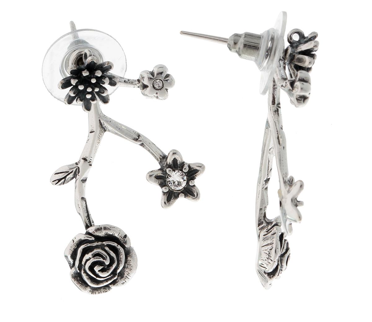 Серьги женские Jenavi Неббиа, цвет: серебро, белый. f7063800f7063800Коллекция Tenerezza, Неббиа (Пуссеты) гипоаллергенный ювелирный сплав,Черненое серебро, вставка Кристаллы Swarovski , цвет - серебро, белый