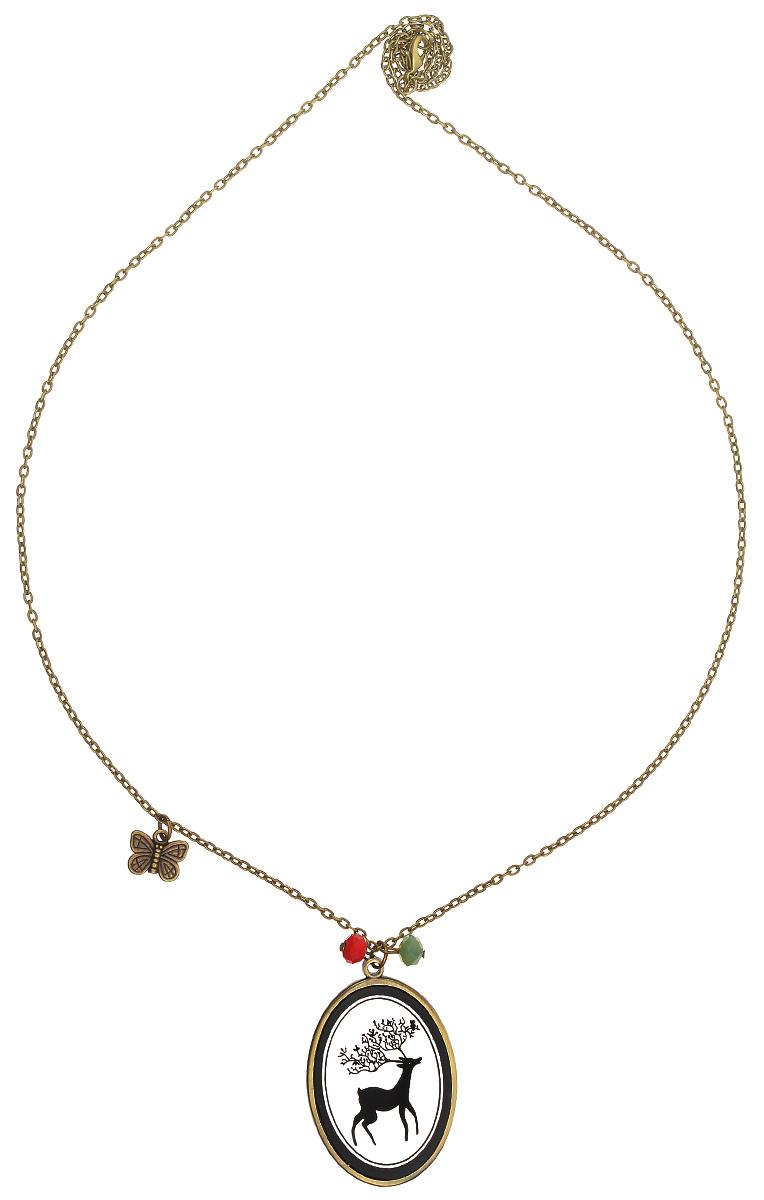 Медальон Kawaii Factory Олень, цвет: бронзовый. KW091-000024KW091-000024Изысканный медальон Олень от Kawaii Factory - это воплощение тонкого вкуса и изящества. Очаровательный кулон выполнен в изысканно-романтичном стиле из металла и пластика, украшен тонким рисунком оленя. Цепочка выполнена из металла, имитирующего бронзу, декорирована металлической бабочкой и цветными бусинами и застегивается на удобный замок-карабин. Этот винтажный медальон станет вашим любимым украшением, прекрасно сочетающимся с любым нарядом и подходящим для любого мероприятия.
