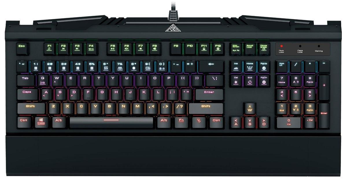 Gamdias Hermes 7 Color игровая клавиатураGKB3000Механическая клавиатура Gamdias Hermes 7 Color отличается превосходным соотношением цена/качество. Металлическая поверхность корпуса клавиатуры обеспечивает крепкость и надежность всей конструкции. Gamdias Hermes 7 Color оснащена сертифицированными механическими свичами Gamdias Certified (Blue), жизненный цикл которых составляет 50 миллионов нажатий. Также имеется 14 наборов эффектов светодиодной подсветки: 9 встроенных наборов и 5 настраиваемых шаблонов. Частота опроса: 1000 Гц Встроенная память: 8 Кб Блокировка клавиши Windows Возможность блокировки всех клавиш