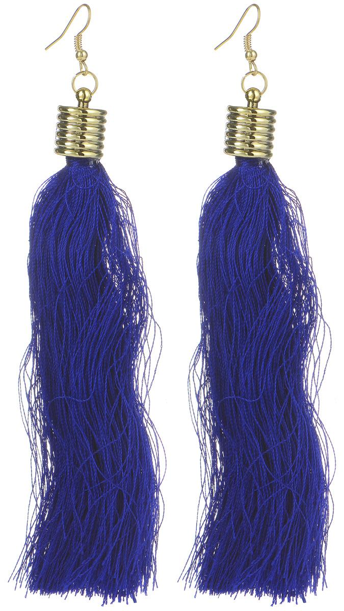 Серьги Kawaii Factory Tassel, цвет: синий. KW092-001103KW092-001103Серьги с кисточками, пришедшие к нам из эпохи ар-деко, снова стали главной деталью вечернего и повседневного образа современных женщин. Серьги выполнены из текстильных нитей, декорированы элегантным металлическим пояском, а также оснащены удобной застежкой-петлей. Длинные серьги придадут изящества женской шее, подчеркнут изысканность и утонченный вкус их обладательницы.