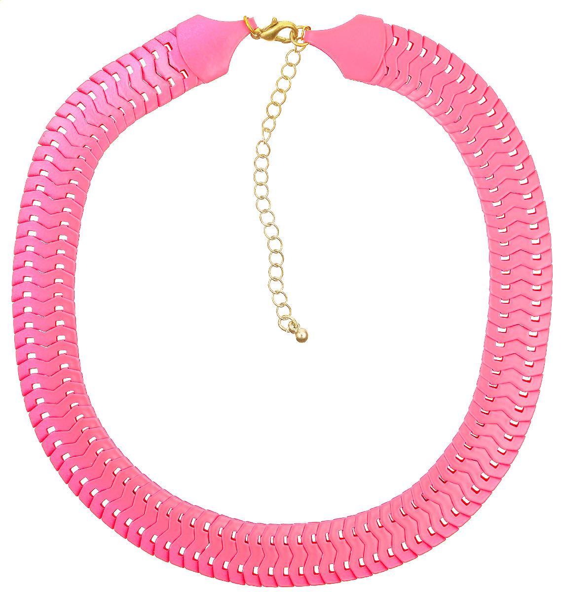 Колье Kawaii Factory Flat, цвет: ярко-розовый. KW091-000082KW091-000082Оригинальное колье Flat от Kawaii Factory похоже на маленькую яркую змейку и напомнит вам о теплых летних днях. Украшение выглядит роскошно и беззаботно, что позволяет носить его и днем, и вечером, имеет хорошо продуманный дизайн и идеальное качество. Колье выполнено из металлических плоских звеньев и застегивается на удобный замок-карабин. Такое колье позволит вам создать игривый, запоминающийся образ для любого случая жизни. Изделие подчеркнет изысканные линии декольте и изгиб шеи, а яркая цветовая гамма дополнит любой наряд.