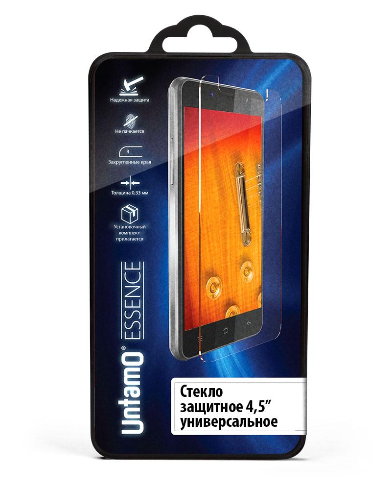 Untamo Essence универсальное защитное стекло для смартфонов 4,5UESPGUN45Защитное стекло Untamo Essence поможет защитить экран смартфона даже от сильных ударов и других воздействий. При его изготовлении используется химически закаленный материал, соответствующий стандарту твердости 9H. Олеофобное покрытие предотвращает образование отпечатков пальцев и пятен на дисплее, отталкивая влагу и грязь. Толщина аксессуара не превышает 0,33 мм, что позволяет сохранить неизменное качество изображения и высокую чувствительность сенсора. Нанесение защитного стекла на подготовленный экран отнимает всего несколько секунд - для его фиксации применяется эластичный силикон, в котором не образуется пузырей воздуха.