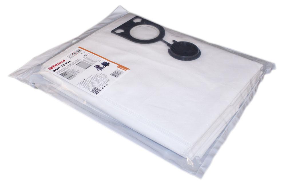 Filtero BSH 35 Pro комплект пылесборников для промышленных пылесосов, 5 штBSH 35 (5) ProМешки для промышленных пылесосов Filtero BSH 35 Pro, трехслойные, произведены из синтетического микроволокна MicroFib. Прочность синтетических мешков Filtero BSH 35 Pro превосходит любые бумажные мешки- аналоги, даже если это оригинальные бумажные мешки всемирно известных марок. Вы можете быть уверены: заклепки, гвозди, шурупы, битое стекло, острые камни и прочее не смогут прорвать мешки Filtero Pro. Мешки Filtero Pro не боятся влаги, и даже вода, попавшая в мешок, не помешает вам произвести качественную уборку! Подходят для следующих моделей пылесосов: BOSCH: GAS 50 FELISATTI: VC 50 HITACHI: RNT 1250 METABO: ASR 2050 ASR 50 L ASR 50 M SHR 2050 M MILWAUKEE: ASE 1400 ASM 1400 STARMIX: GS … 1245 GS … 1455 HS ... 1445 HS ... 1645 HS … 1655 IS ... 1050 IS ... 1250 IS ... 1450 ISC ... 1450 ИНТЕРСКОЛ: ...