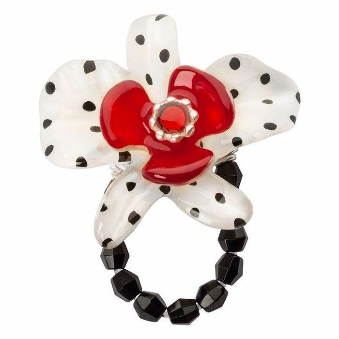 Кольцо Lalo Treasures G&G, цвет: золотистый, красный, черный. R6962mR6962mИзысканное кольцо оригинального дизайна Lalo Treasures изготовлено из ювелирной смолы ярких цветов. Изделие выполнено в виде утонченного цветка. Скругленные углы элемента идеально подходят для нежных женских пальцев - изящество и сама элегантность. Очень винтажно смотрится на руке. Кольцо Lalo подчеркнет вашу утонченность и изысканный вкус. Изделие регулируется по размеру.