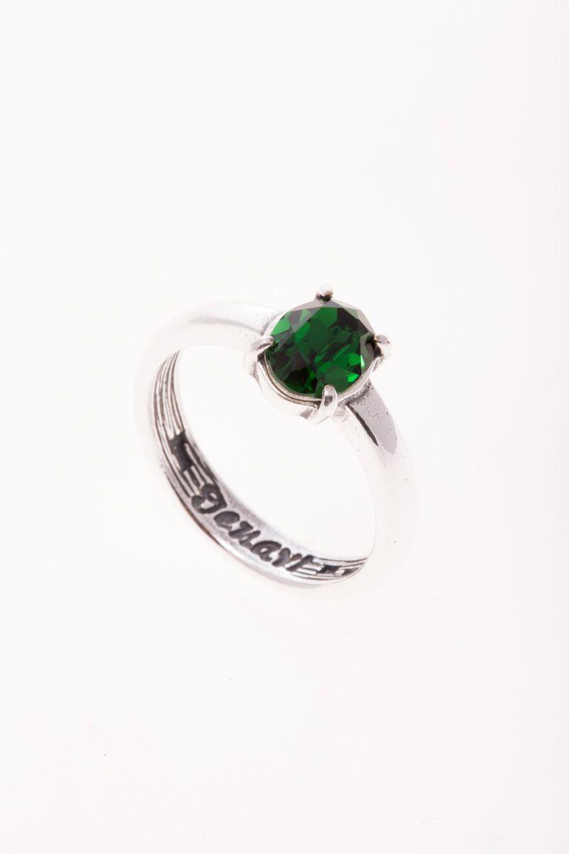 Jenavi, Коллекция Циркония, Триса SW (Кольцо), цвет - серебристый, зеленый, размер - 19. r6693032