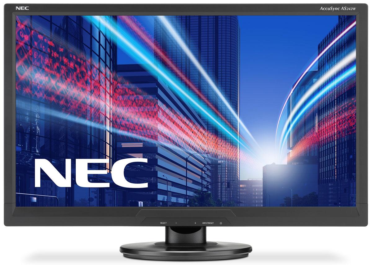 NEC AS242W-BK, Black монитор60003810NEC AS242W-BK - ЖК-монитор с новейшей технологией двойной подсветки по доступной цене. Дисплей отличается приятным дизайном и отличными показателями в своем классе. Это идеальный монитор для начинающих, профессиональных и взыскательных пользователей. Работа в зеленом режиме – низкий расход электроэнергии с инновационной технологией светодиодной подсветки или двойной подсветки, работа в эко-режиме и Carbon Footprint Meter / измерительуглеродного следа. Экологические и эргономические характеристики данной модели соответствуют современным стандартами, включая TCO 6.0 и ISO 9241-307. Крепление Vesa (100 мм) позволяет инсталлировать монитор различными способами крепления. Бесплатная загрузка ПО по управлению многоэкранным режимом С помощью NaViSet Администратора 2 вы можете централизованно управлять всеми подключенными дисплеями.