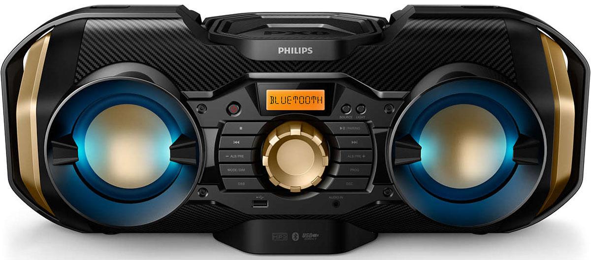 Philips PX840T/12 магнитола c CDPX840T/12Портативная магнитола c CD Philips PX840T/12 позволяет легко воспроизводить музыку с любимых источников — Bluetooth, USB, CD или радио FM/MW. Встроенная система динамичной подсветки и мощность 50 Вт для исключительных впечатлений при прослушивании. Танцуйте под зажигательный ритм. Подсветка мерцает в такт музыке, делая вечеринку еще более зажигательной. Если подсветка не нужна, ее можно просто отключить. Динамичная подсветка сделает вечеринку, праздник или любое другое событие просто незабываемым. Bluetooth — надежная и энергоэффективная технология беспроводной связи малого радиуса действия, которая позволяет с легкостью подключать iPod/iPhone/iPad и другие Bluetooth-устройства, например смартфоны, планшетные компьютеры и ноутбуки. Теперь вы сможете без проводов воспроизводить на этой акустической системе любимую музыку и звук во время игр или просмотра видео. Формат MP3 — это революционная технология сжатия, благодаря которой большие...