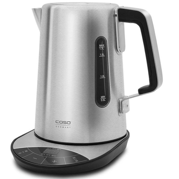 CASO WK 2500, Black Silver электрический чайникWK 2500Дизайнерский электрический чайник CASO WK 2500 изготовлен из нержавеющей стали, что дает гарантию в долгом сроке службы, а также он менее подвержен механическим повреждениям. Данная модель имеет объем 1,7 литра, а также снабжена функцией контроля температуры с 6 степенями: от 40 до 100 °C. Управление чайника сенсорное, имеется место для намотки кабеля, звуковой сигнал о закипании воды, а также индикация о температуре нагрева. Все это дает потребителю удобство и комфорт в использовании.