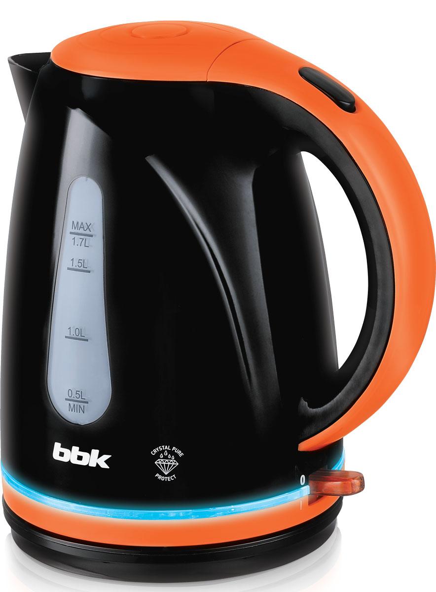 BBK EK1701P, Black Orange электрический чайникEK1701P чер/орЭлектрический чайник BBK EK1701P из термостойкого экологически чистого пластика, мощностью 2200 Bт и емкостью 1,7 литра, - это не просто стильный, но и многофункциональный прибор для вашей кухни. Чайник оснащен технологией Crystal Pure Protect - это улучшенная защита от накипи и усовершенствованная очистка воды, а также многоуровневой защитой. Помимо этого модель порадует яркой LED- подсветкой. Прибор установлен на удобную подставку с возможностью поворота на 360 градусов и с отделением для хранения шнура. Помимо этого отличительной особенностью является удобный носик для наливания и шкала уровня воды.