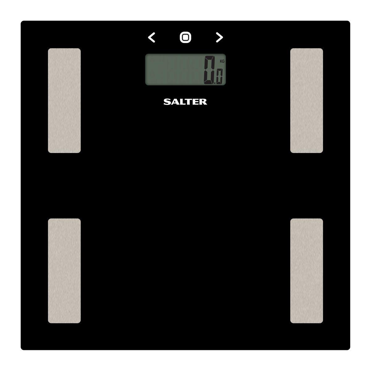 Salter 9150 BK3R напольные весы9150 BK3RДиагностические напольные весы Salter 9150 BK3R. Интеллектуальная шкала для точного мониторинга прогресса в весе для тех, кто тренируется. Сверхтонкая платформа - гладкий современный дизайн, тонкий корпус для удобного хранения. Быстрое измерение. Стильный цвет для поддержания дизайна интерьера вашей ванной комнаты. Специальные ножки для ковра в комплекте, чтобы точно измерять вес на ковре или других неровных поверхностях.