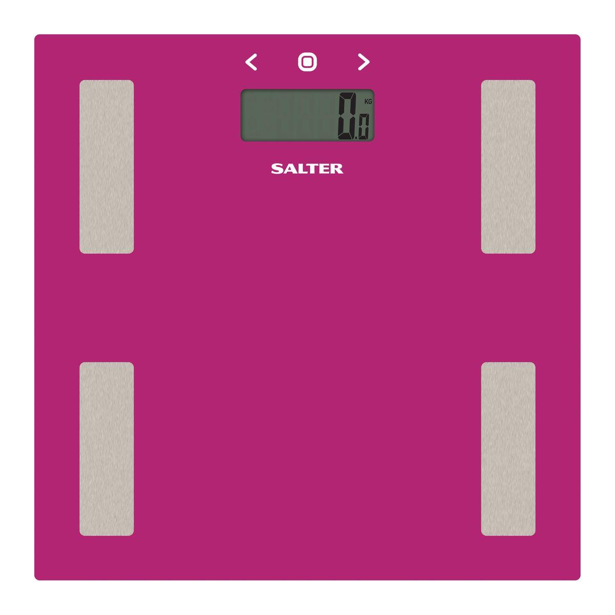Salter 9150 PK3R напольные весы9150 PK3RДиагностические напольные весы Salter 9150 PK3R. Интеллектуальная шкала для точного мониторинга прогресса в весе для тех, кто тренируется. Сверхтонкая платформа - гладкий современный дизайн, тонкий корпус для удобного хранения. Быстрое измерение. Стильный цвет для поддержания дизайна интерьера вашей ванной комнаты. Специальные ножки для ковра в комплекте, чтобы точно измерять вес на ковре или других неровных поверхностях.