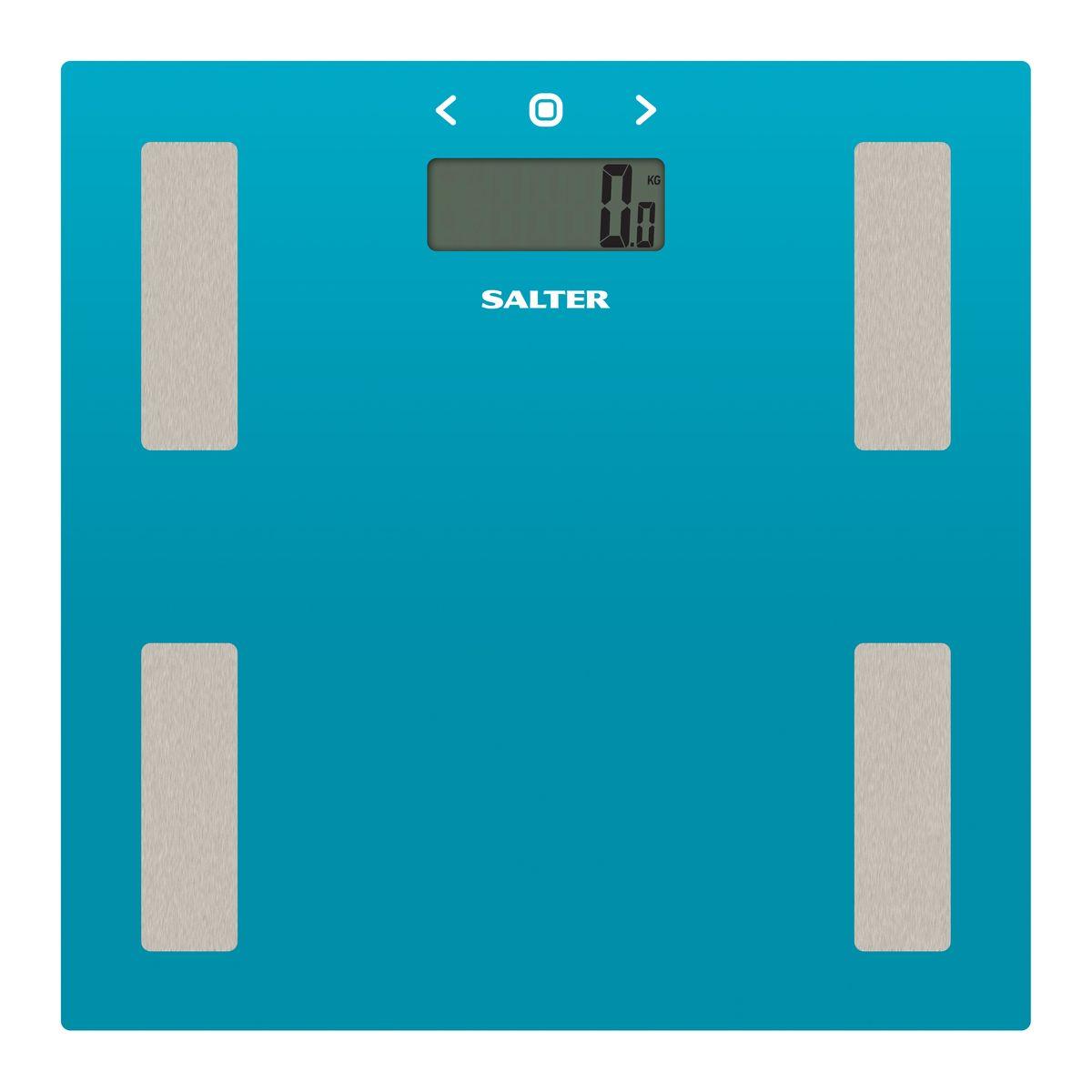 Salter 9150 TL3R напольные весы9150 TL3RДиагностические напольные весы. Измерение веса, а также процентное содержание жира, процентное содержание воды в организме и ИМТ. Память на 8 пользователей. Точность измерения 0.1 кг. Максимальное измерение 180 кг. Режим спортсмена. Интеллектуальная шкала для точного мониторинга прогресса в весе для тех, кто тренируется. Сверхтонкая платформа - гладкий современный дизайн, тонкий корпус для удобного хранения. Быстрое измерение. Включает в себя 2 х ААА батареи. Стильный бирюзовый цвет на ваш выбор для поддержания дизайна интерьера вашей ванной комнаты. Специальные ножки для ковра в комплекте, чтобы точно измерять вес на ковре или других неровных поверхностях