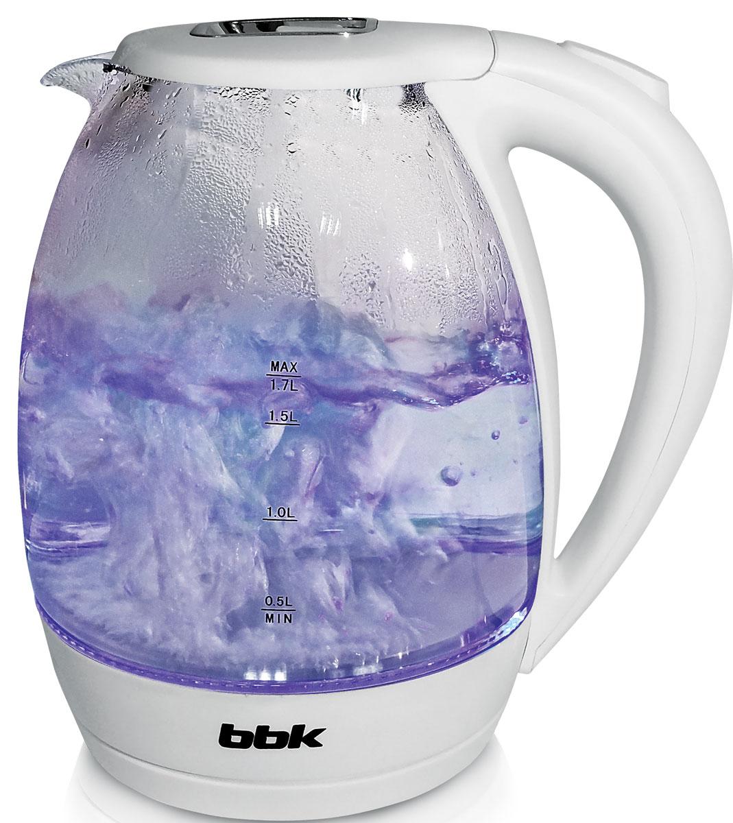 BBK EK1720G, White электрический чайникEK1720G белыйЭлектрический чайник BBK EK1720G с колбой из жаропрочного экологически чистого стекла, мощностью 2200 Вт и емкостью 1,7 литра - это не просто стильный, но и многофункциональный прибор для вашей кухни. Благодаря английскому контроллеру, установленному в приборе, чайник прослужит в 5 раз дольше обычного, обеспечивая до 15000 закипаний. Модель оснащена многоуровневой защитой: автоматическое отключение при закипании, отключение при недостаточном количестве воды и отключение при снятии чайника с базы. Прибор установлен на удобную подставку с возможностью поворота на 360 градусов и с отделением для хранения шнура. Помимо этого отличительной особенностью является удобный носик для наливания и шкала уровня воды. Съемный фильтр от накипи и скрытый нагревательный элемент гарантированно обеспечат надежность, долговечность и максимально комфортное ежедневное использование.
