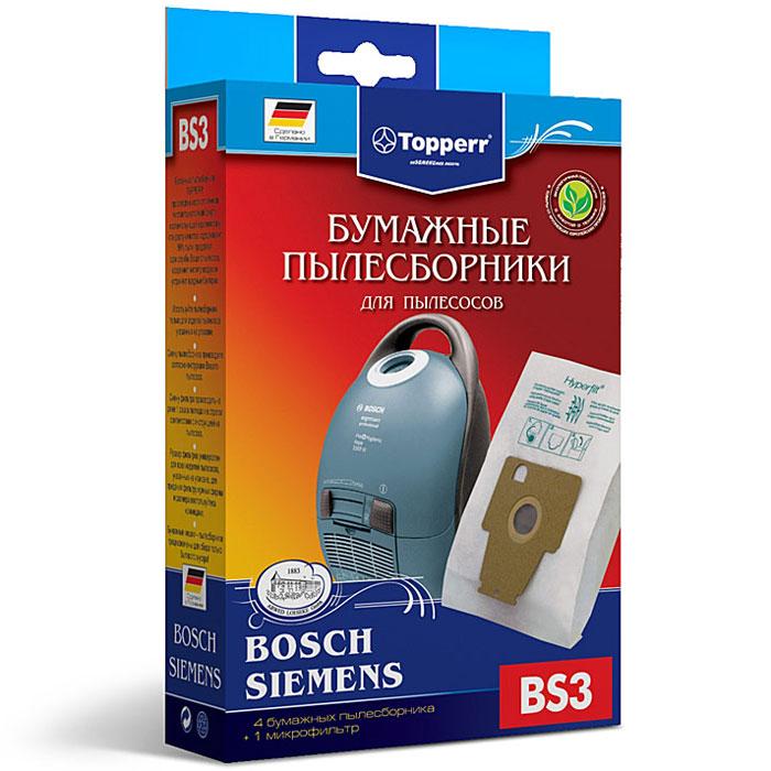 Topperr BS 3 фильтр для пылесосов Bosch, Siemens, 4 шт1002Бумажные пылесборники Topperr BS 3 для пылесосов Bosch и Siemens изготовлены из экологически чистой трехслойной бумаги, соответствующей европейскому стандарту качества, задерживают 99% пыли, продлевая срок службы пылесоса, сохраняют чистоту воздуха и устраняют вредные бактерии. Модели и серии пылесосов: Bosch: Ergomaxx professional BSG 8; HomeProfessional BSG8PRO Siemens: Dynapower VS 08G, Compressor technology VS 08 GP