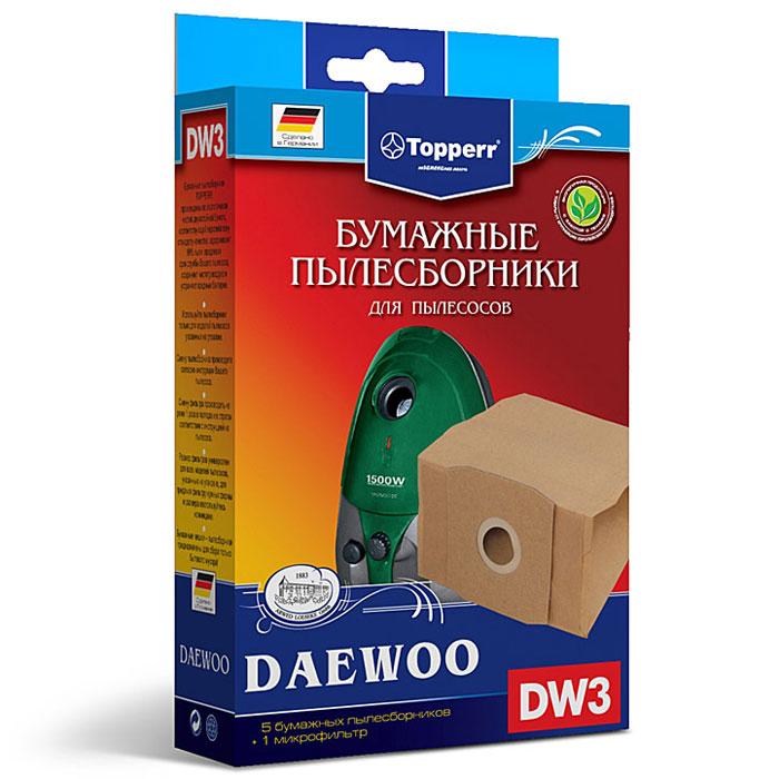 Topperr DW 3 фильтр для пылесосов Daewoo, 5 шт1003Бумажные пылесборники Topperr DW 3 для пылесосов Daewoo изготовлены из экологически чистой двухслойной бумаги, соответствующей европейскому стандарту качества, задерживают 99% пыли, продлевая срок службы пылесоса, сохраняют чистоту воздуха и устраняют вредные бактерии. Daewoo: RC 1550, RC 1560, RC 200 H, RC 220, RC 2200, RC 2201, RC 2202, RC 2205, RC 2230, RC 300, RC 320, RC 3000, RC 3001, RC 3004, RC 3005, RC 3006 B, RC 3011, RC 305, RC 3100, RC 3106, RC 320, RC 3204, RC 3205, RC 330 FR, RC 3306, RC 3308 MR, RC 350, RC 3500, RC 360, RC 370 B, RC 3700, RC 3704 F, RC 3705 FB, RC 371, RC 3750, RC 3800, RC 400, RC 4000, RC 4005, RC 4006 B, RC 4008 S, RC 410, RC 470, RC 480, RC 600, RC 6005, RC 700, RC 7003, RC 7004, RC 7005, RC 805, RC 800, RC 850, RC 8001, RC 8002, RC 9000, RC-L 381, RCN 350, RCN 400, RCN 500, RCN 3706