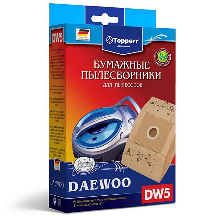 Topperr DW 5 фильтр для пылесосов Daewoo, 5 шт1004Бумажные пылесборники DW5 для пылесосов DAEWOO изготовлены из экологически чистой двухслойной бумаги, соответствующей европейскому стандарту качества, задерживают 99% пыли, продлевая срок службы пылесоса, сохраняют чистоту воздуха и устраняют вредные бактерии. Модели и серии пылесосов: Daewoo: RC-8200, RC-8500 S, RC-8600, RC-2006, RC-2500, RC-6016, RC 1504, RC 1650, RC 3504, RC-5001, RC-5002, RC-6001, RC-6002, RCP-1000, RC 103, RC 105, RC 106, RC 107, RC 108, RC 109, RC 110, RC 160, RC 161, RC 170, RC 171, RC 172, RC 173, RC 190, RC 191, RC 192, RC 193, RC 202, RC 205, RC 208, RC 209, RC 210, RC 405, RC 406, RC 407, RC 450, RC 505, RC 550, RC 605, RC 606, RC 607, RC 608, RC 609, RC 705, RC 707, RC 7006, VC 6714, VC 7114, Compakt, Koala