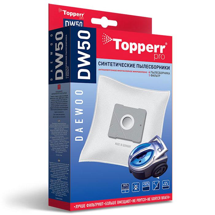 Topperr DW50 фильтр для пылесосов Daewoo, 4 шт1403Синтетические пылесборники Topperr DW50 подходят для пылесосов Daewoo произведены из нетканого фильтрующего материала. Данный материал не боится повышенной влажности и обладает большой прочностью, главное качество – способность задерживать 99,5% пыли. Регулярное использование синтетических мешков-пылесборников гарантирует не только очищение воздуха от пыли и аллергенных микроорганизмов, но и чистоту внутренних поверхностей пылесоса. Модели и серии пылесосов: Daewoo: RC-8200, RC-8500 S, RC-8600, RC-2006, RC-2500, RC-6016, RC 1504, RC 1650, RC 3504, RC-5001, RC-5002, RC-6001, RC-6002, RCP-1000, RC 103, RC 105, RC 106, RC 107, RC 108, RC 109, RC 110, RC 160, RC 161, RC 170, RC 171, RC 172, RC 173, RC 190, RC 191, RC 192, RC 193, RC 202, RC 205, RC 208, RC 209, RC 210, RC 405, RC 406, RC 407, RC 450, RC 505, RC 550, RC 605, RC 606, RC 607, RC 608, RC 609, RC 705, RC 707, RC 7006, VC 6714, VC 7114, Compakt, Koala.