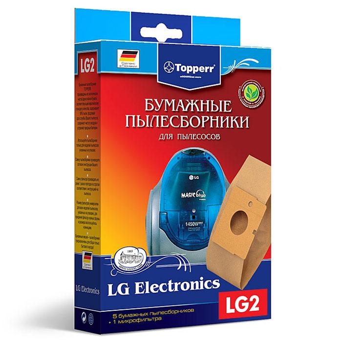 Topperr LG 2 фильтр для пылесосов LG Electronics, 5 шт1017Бумажные пылесборники Topperr LG 2 для пылесосов LG Electronics изготовлены из экологически чистой двухслойной бумаги, соответствующей европейскому стандарту качества, задерживают 99% пыли, продлевая срок службы пылесоса, сохраняют чистоту воздуха и устраняют вредные бактерии. Модели и серии пылесосов: LG Electronics: Storm Extra: V-C 30..; Turbo Storm: V-C 29.., V-C 36.., V-C 374., V-C 38..; Turbo Gamma: V-C 41.., V-C 58..; Magic: V-C 42.., V-C 44.., V-C 61.., V-C 65..; Turbo Max V-C 57.., V-C 58..; Turbo V-C 40.., V-C202..; V-C 62..; V-C4A..; V-C 4B