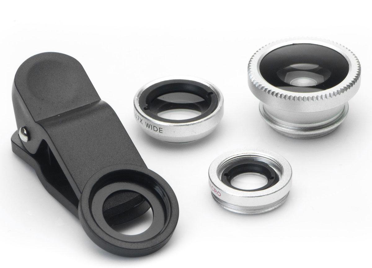 Harper UCL-003, Silver набор объективов 3 в 1H00000541Набор объективов Harper UCL-003. Линзы подходят как для телефонов, так и для планшетов. Набор объективов включает в себя: Fish Eye - объектив, угол изображения которого близок к ста восьмидесяти градусам Wide Angle Lens - широкоугольный объектив, увеличивает угол съемки примерно на 49% Macro - позволяет снимать мелкие предметы с фокусным расстоянием 1,5 - 2,3 см.