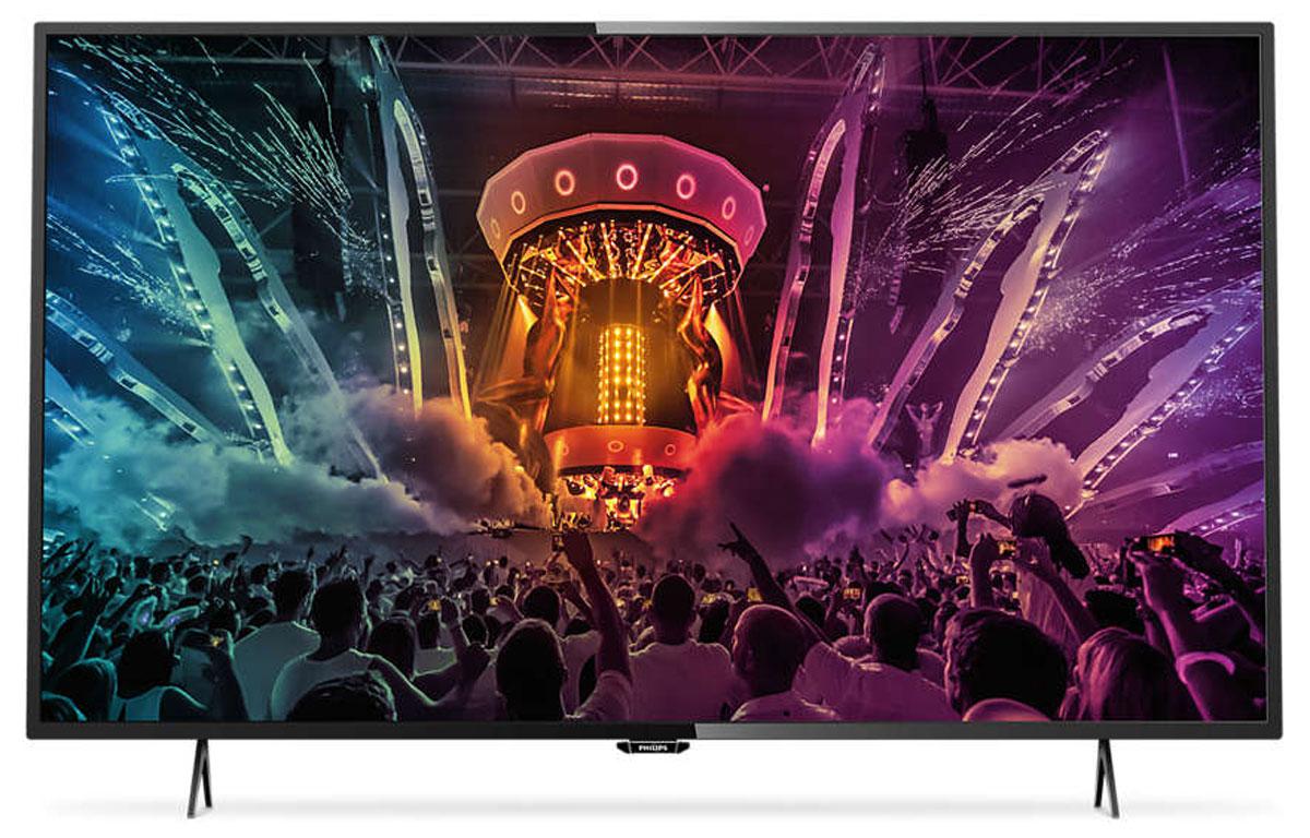 Philips 43PUT6101, Black телевизор43PUT6101/60Утонченные линии подчеркивают изящность дизайна Изящный, современный, лаконичный дизайн. Неудивительно, что ультратонкий силуэт телевизора Philips 43PUT6101 притягивает к себе взгляд — это идеальное решение, которое прекрасно дополнит любой интерьер. 4K Ultra HD: непревзойденное качество изображения в высоком разрешении Телевизор Ultra HD в 4 раза превосходит разрешение обычного телевизора Full HD. Благодаря 8 миллионам пикселей и уникальной технологии Ultra Resolution качество изображения не будет зависеть от исходного контента. Улучшенная четкость и глубина изображения, великолепный контраст, плавное и естественное движение и безупречная детализация. Smart TV: исследуйте для себя совершенно новый мир Откройте для себя интеллектуальные возможности этого телевизора. Настраивайте потоковую передачу фильмов, видео или игр, приобретая их в онлайн-магазинах. Просматривайте прошедшие передачи с любимых телеканалов и наслаждайтесь широким выбором...