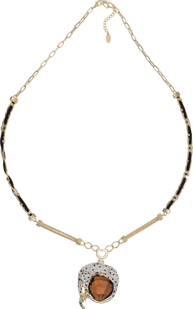 Колье Selena Medea, цвет: черный, золотой, коричневый. 1008312110083121Стильное колье Medea изготовлено из металла с гальваническим покрытием золотом. Изделие оформлено стразами Swarovski и крупным граненым камнем из ювелирного стекла. Колье застегивается на замок-карабин. Длина регулируется за счет цепочки. Это необычное и стильное украшение эффектно дополнит ваш модный образ и позволит выделиться среди окружающих.