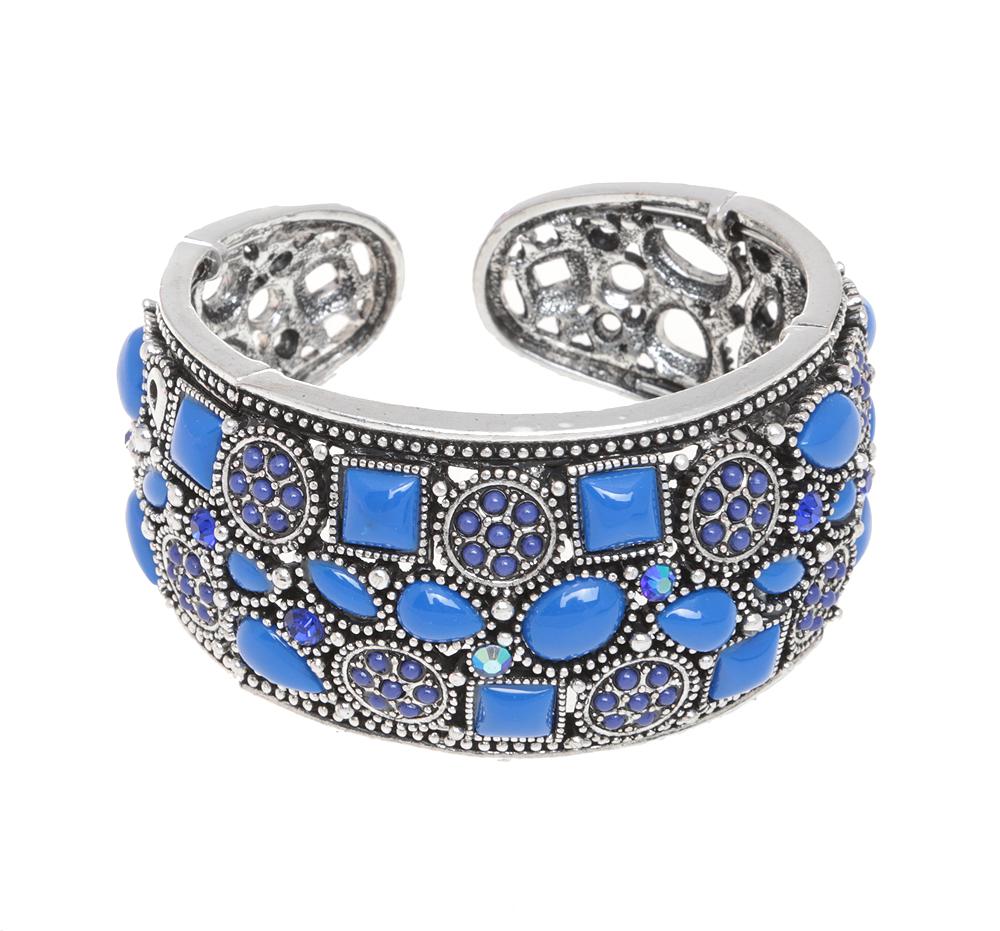 Браслет Мирайя в византийском стиле от Arrina. Ювелирный акрил, кристаллы синего цвета, бижутерный сплав серебряного тона. Гонконгk271f334Браслет Мирайя от Arrina. Ювелирный акрил, кристаллы синего цвета, бижутерный сплав серебряного тона. Гонконг. Размер: диаметр 6 см, браслет эластичный подойдет на любой размер.