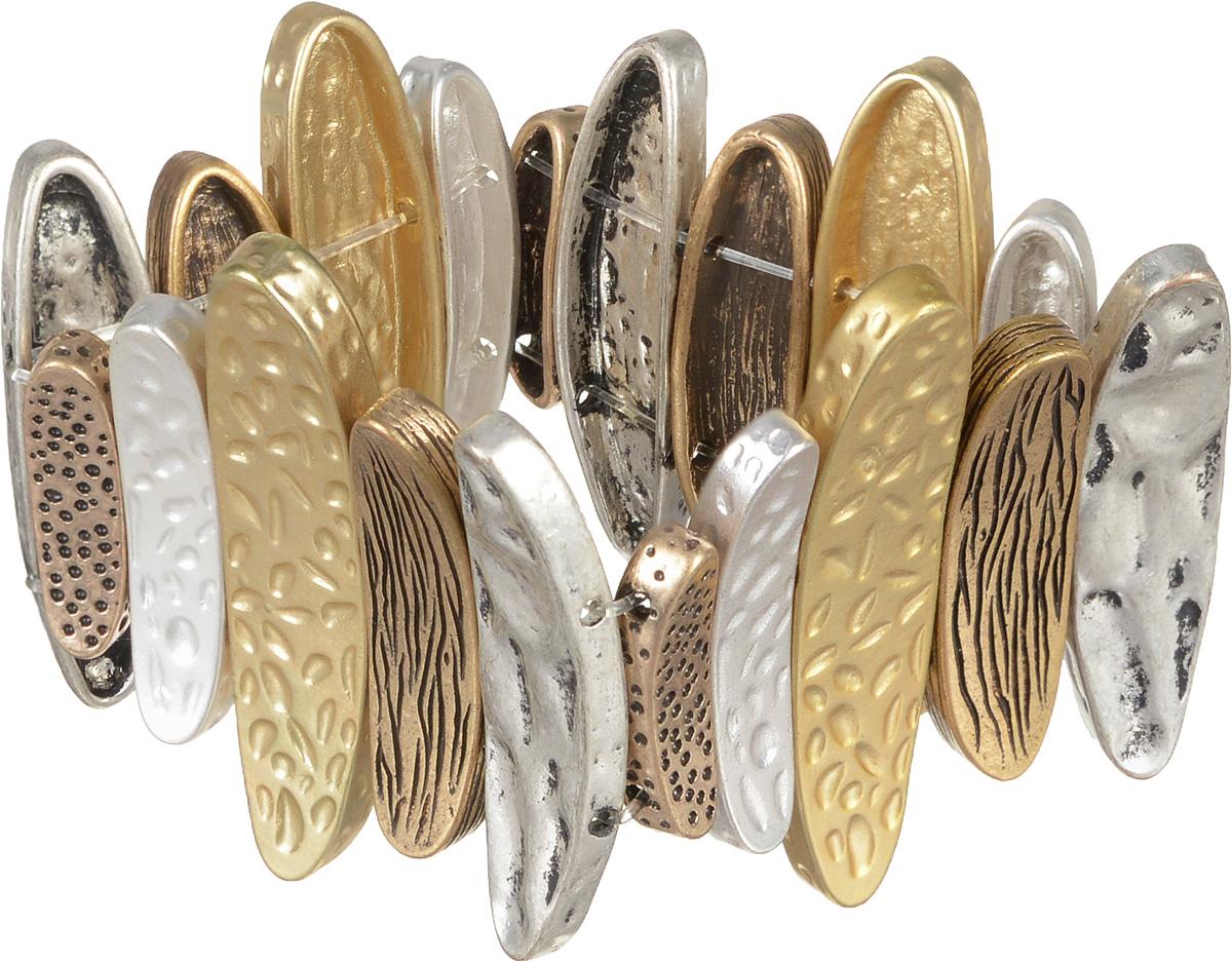 Браслет Selena Street Fashion, цвет: золотистый, серебристый, медный. 4005389040053890Браслет Selena Street Fashion выполнен из металла с гальваническим покрытием золотом и родием в виде оригинальных звеньев. Благодаря резинке браслет может растягиваться, что делает его размер универсальным. Коллекция Street Fashion – бижутерия, которая, как и весь уличный стиль, не обязывает к соответствию строгим стандартам, а позволяет легко и немного играючи выстроить свой образ.
