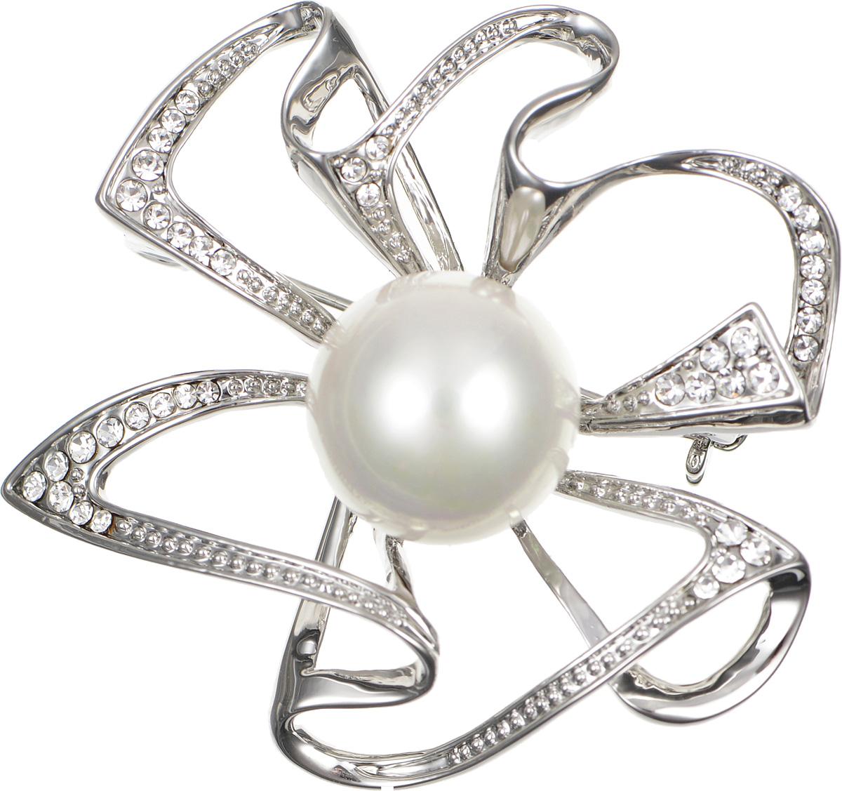 Брошь жен. Selena Селена Street Fashion, цвет: белый, серебристый. 3002644030026440Искусственный жемчуг, кристаллы Preciosa. Гальваническое покрытие: родий.