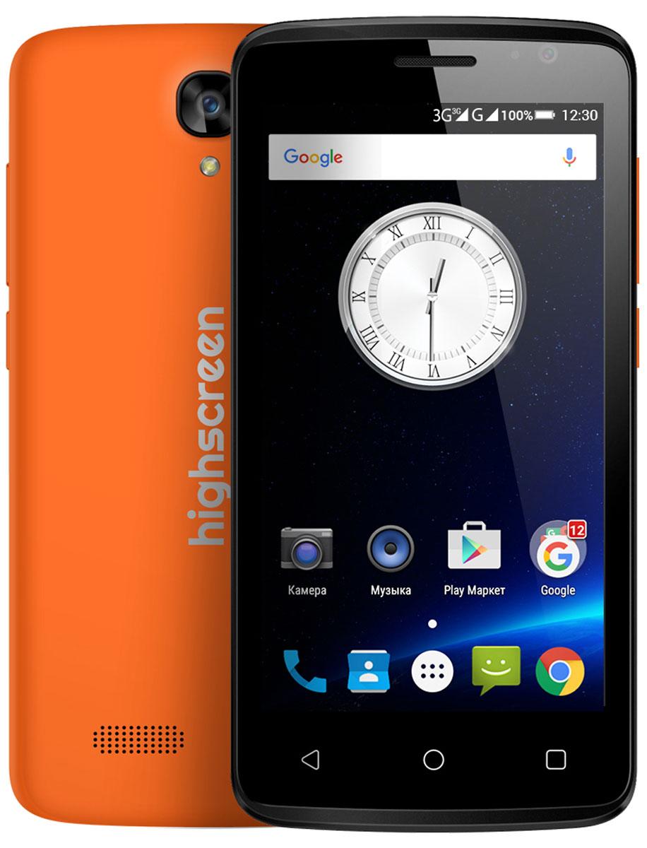 Highscreen Easy F Pro, Orange23433Смартфон Highscreen Easy F Pro - это версия обычного Easy F новой линейки Easy. От своего предшественника Easy Pro отличается рядом улучшенных параметров: 5 мегапиксельной фотокамерой с автофокусом, размером оперативной и постоянной памяти объемом 1 ГБ и 8 ГБ соответственно. Экран Easy F Pro оснащён IPS матрицей. Телефон работает под управлением операционной системы Андроид. Чистая версия Android 5.1 не имеет лишних предустановленных приложений, предоставляя пользователю полную свободу выбора. Диагональ экрана Easy F Pro составляет 4,5 дюйма, предоставляя идеальную эргономику и комфорт в использовании телефона. Корпус мобильного телефона матовый и приятный на ощупь. Процессор мобильного телефона четыръёхядерный сбалансированный MediaTek MT6780. Стабильное интернет- соединение обеспечит поддержка 3G сетей, Wi-Fi. А, сохранить всю нужную информацию возможно на карту памяти для которой предусмотрен слот. Highscreen Easy F Pro легко...