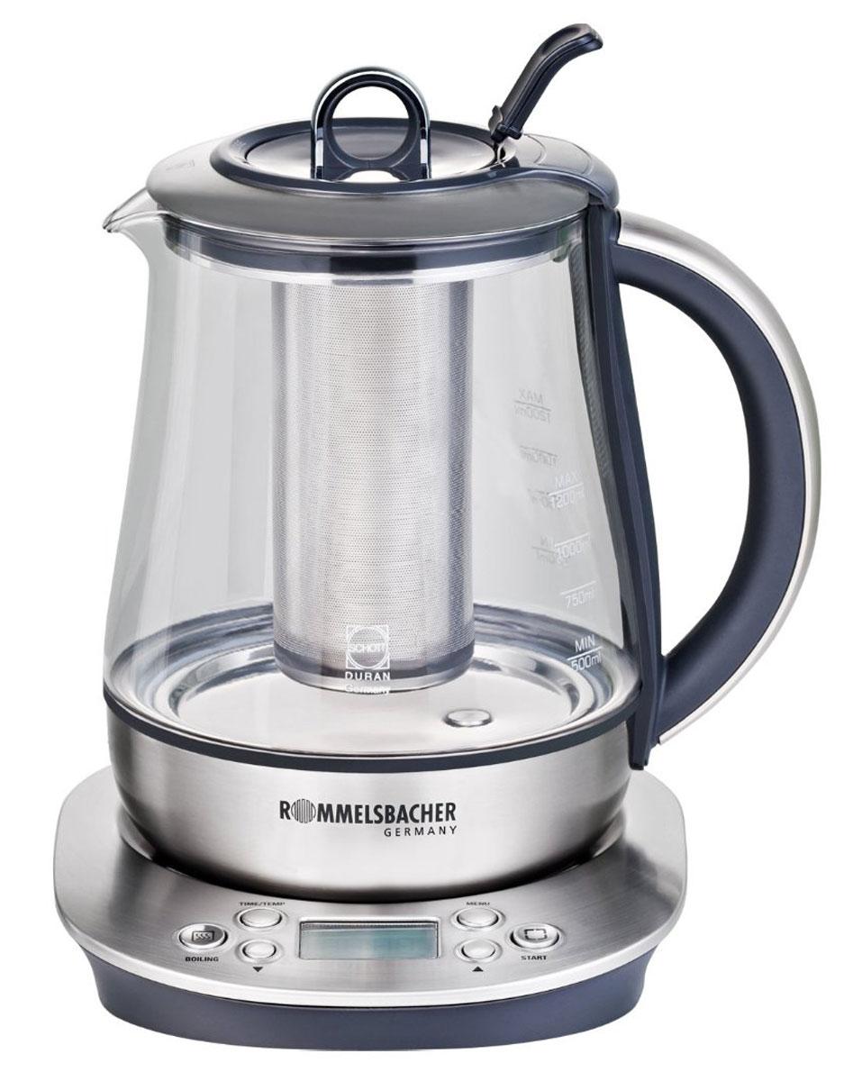 Rommelsbacher TA 1400, Silver электрический чайникTA 1400Rommelsbacher TA 1400 - это мощная (1400 Вт) модель большого объема (1,7 л), оснащенная встроенным заварником и кувшином из стекла Schott Duran. С помощью этого чайника вы сможете приготовить чай на большую компанию за считанные минуты. Вращающийся корпус сделает использование чайника еще более удобным, а фильтр избавит от попадания накипи в чашку. 5 предустановленных программ Стеклянный кувшин из стекла Schott Duran Рекомендуемый объём для заваривания чая 1,2 литра Электронная установка температуры нагрева от 50 °C до 100 °С с шагом 5 °С Установка времени заваривания до 10 минут Звуковой сигнал при достижении заранее выбранной температуры или окончании заваривания Поддержание установленного уровня температуры в течении 30 минут LCD дисплей