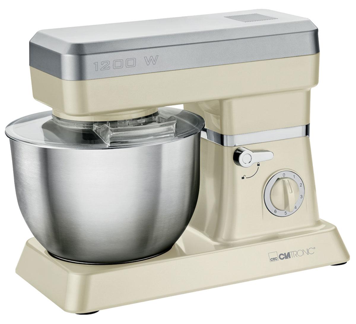 Clatronic KM 3630, Creme кухонный комбайнKM 3630 cremeСтационарный миксер Clatronic KM 3630 станет прекрасным помощником для любой хозяйки С ним вы сможете готовить невероятно вкусные и аппетитные блюда, при этом сократив время их приготовление. Основным назначением прибора является изготовление различных видов теста и кремов. Миксер качественно и быстро перемешивает различные ингредиенты, что дает возможность избежать комочков. Clatronic KM 3630 снабжен чашей из нержавеющей стали и механической системой управления. 6 скоростей замешивания + импульсный режим обеспечат наилучший результат. Поворотный рукав на 35° Чаша из нержавеющей стали Быстрозажимной патрон Легко разбирается для мытья и чистки
