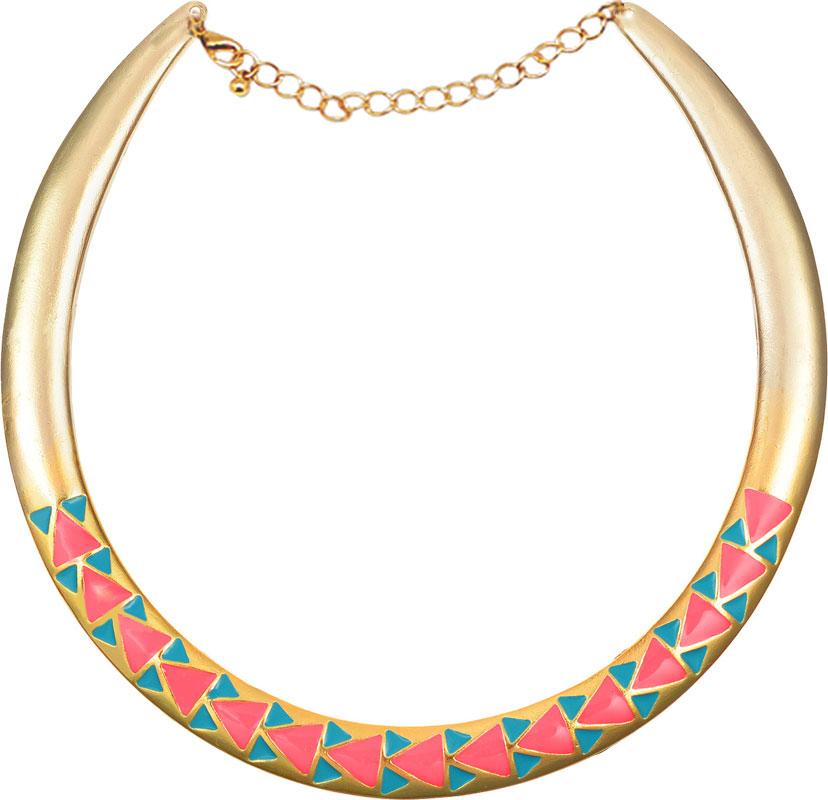 Колье Kawaii Factory Triangles, цвет: золотой, розовый. KW091-000085KW091-000085Колье Triangles от Kawaii Factory в этническом стиле выполнено из металлической основы, имеющей форму полумесяца и декорировано цветными акриловыми треугольниками. Изделие оснащено цепочкой с удобным замком карабином. В этом колье вы всегда будете выглядеть женственно, привлекательно и оригинально. Объемная фактура придаст изящества женской шее, а яркая цветовая гамма дополнит любой наряд.