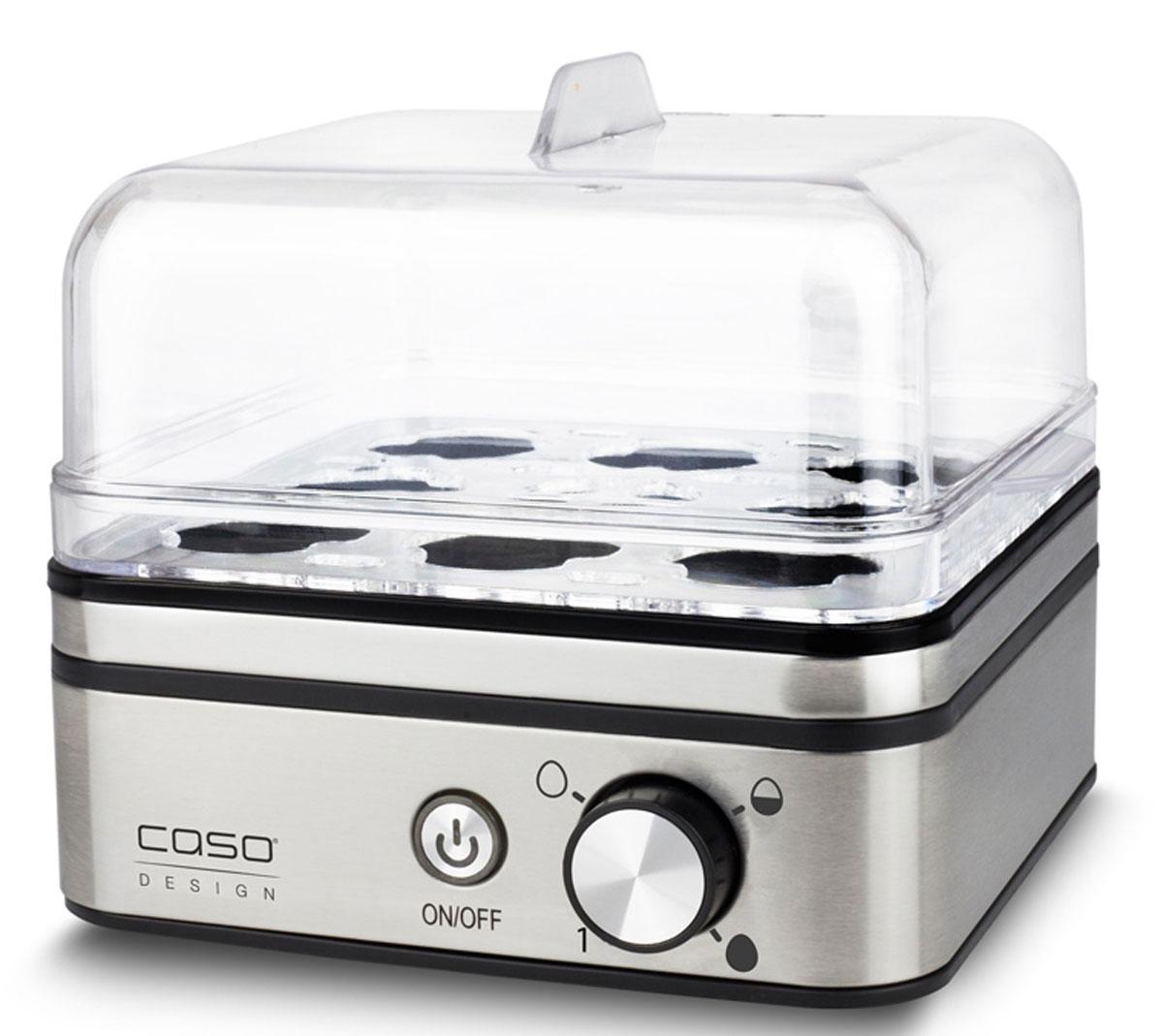 CASO E9, Silver яйцеваркаE 9C помощью яйцеварки CASO E 9 яйца готовятся на пару, при этом используется минимальное количество воды. Каждое яйцо помещается в свое гнездышко, поэтому яйца не соприкасаются друг с другом, а значит, не трескаются и не вытекают. Электронное регулирование времени приготовления Защита от выкипания Антипригарное покрытие варочной емкости Прозрачная пластиковая крышка Мерный стаканчик с приспособлением для накалывания яиц Съемная подставка для яиц из нержавеющей стали