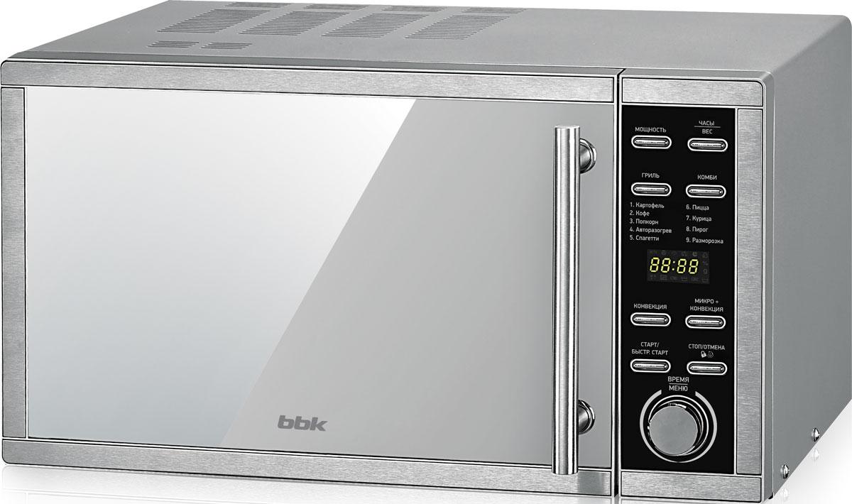 BBK 25MWC-990T/S-M, Silver СВЧ-печь25MWC-990T/S-M/RUМощная и вместительная микроволновая печь BBK 25MWC-990T/S-M обладает прекрасными характеристиками. Зеркальная передняя панель, LED-дисплей и электронное управление – вот составляющие стильного и лаконичного дизайна современной техники для кухни. Функция Гриль позволит зажарить мясо с хрустящей корочкой, а благодаря функции Конвекция устройство можно использовать как традиционный духовой шкаф для выпекания. Доступны автоматические и комбинированные режимы приготовления блюд. Функция блокировки панели управления убережет от небезопасного взаимодействия ребенка с электроприбором. Благодаря встроенному в камеру вентилятору можно избавиться от лишних запахов.