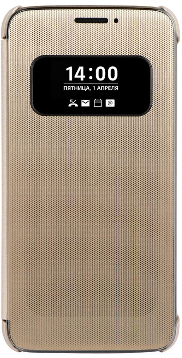 LG QuickCover чехол для для G5, GoldCFV-160.AGRAGDLG QuickCover для G5 имеет инновационный модульный дизайн. Быстрый доступ к основным функциям: звонки, оповещения, смс, не открывая чехла. Конструкция чехла надежно защитит смартфон от повреждений, царапин и пыли. Имеется свободный доступ ко всем кнопкам и разъемам устройства.
