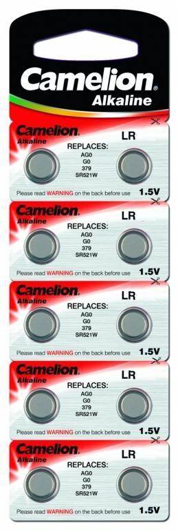 Батарейка для часов Camelion G-0 BL-10 (AG0/ 379A/LR521), 10 шт