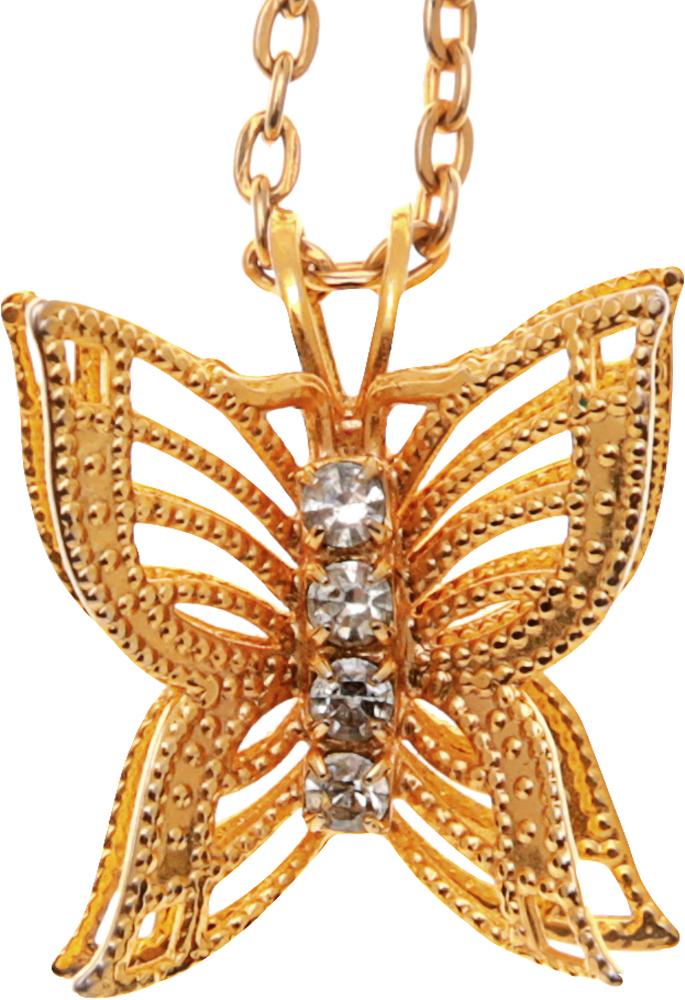 Кулон на цепочке Ажурная бабочка. Бижутерный сплав золотого тона. США, 1990-е годыPDV-83Кулон на цепочке Ажурная бабочка. Бижутерный сплав золотого тона. США, 1990-е годы. Размер кулона 1,3 х 1, 7 см. Длина цепочки 56 см. Сохранность отличная.