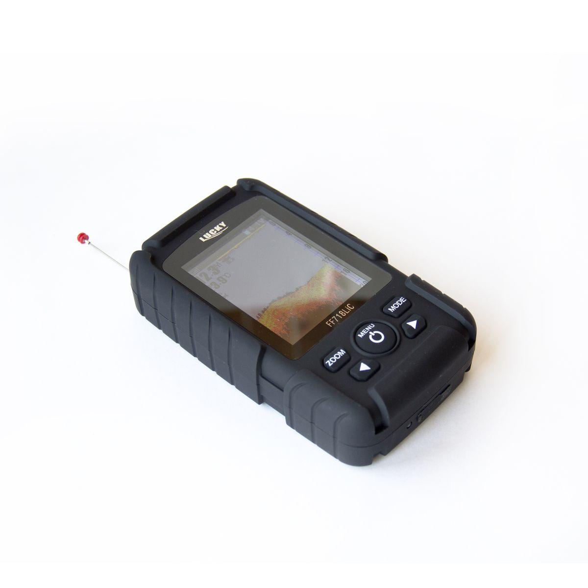 Эхолот Lucky FF718LiCFF718LiCДисплей: Регулируемый, высококонтрастный цветной ЖК-дисплей; Разрешение: 132х132 Размер дисплея: 41x48 мм Подсветка экрана: Вкл./Выкл Белый светодиод Радиус работы беспроводного датчика до 40м Углы и частоты датчиков: Проводной :45 градусов при 200 кГц; Беспроводной 90 градусов при 125 кГц Единицы измерения температуры: Цельсий/Фаренгейт Питание прибора: 3.7 V перезаряжаемые щелочные батареи Индикатор заряда батареи Настройка уровней чувствительности Отображение иконки рыбы, сигнализации рыбы Отображение рельефа дна Единицы измерения расстояния Метр/Фут Индикатор Температуры Воды Уровень защищенности: IP7.8 Память: встроенная память хранит sonar настройку, если устройство выключено Автоматическое выключение беспроводного датчика при извлечении из воды. Питание беспроводного датчика:одна сменная СR-2032 литиевая батарея Рабочая температура:от -20°С до +70°С